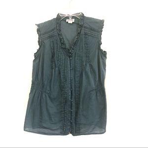 ☀️ Converse sleeveless button down ruffle top